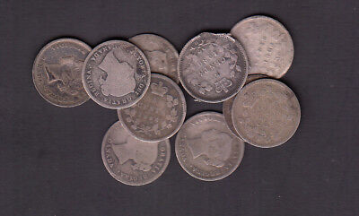 1858 - 1901 Canada 5 Cents Silver Coins Lot Of 10