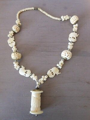 Antique Asian Intricately Carved Bovine Bone Necklace