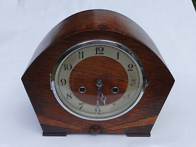 Vintage Deco Wooden Chiming Mantle Pendulum Clock Made in Wurttemberg with key