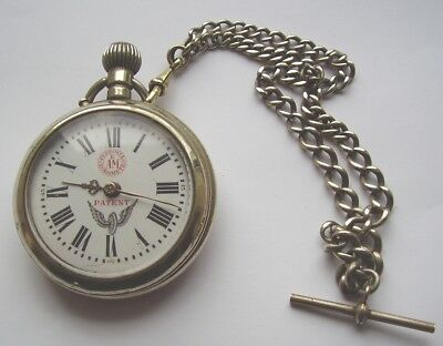 Antique Pocket Watch Ferrovia Cronometro Railway &  Double Albert Chain Working