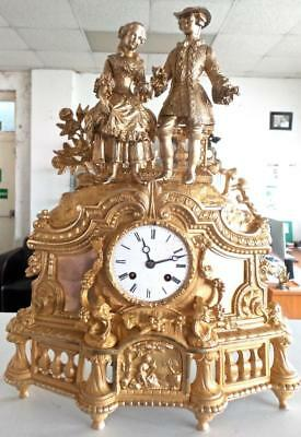 Large Antique French 19thc Gt Bronze Twin Figural 8 day Bell Strike Mantle Clock