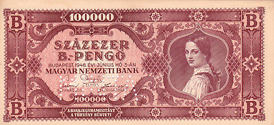 100 000 Bilpengo From Hungary 1946 Ef+ Banknote!pick-133S!specimen Perforated