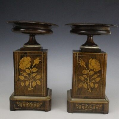 PR Antique 19c French Inlaid Exotic Wood Tazza Compote Garniture Rose Vases SMS