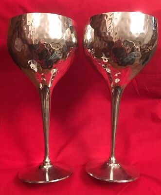 Pair Of Large Vintage Silver Plated Goblets