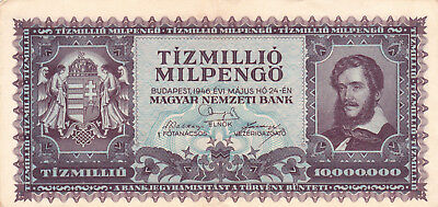 10 000 000 Milpengo From Hungary 1946 Vf+ Banknote!pick-129