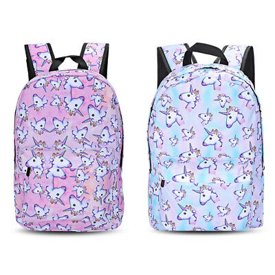Fashion Unicorn Pattern Canvas Backpack Girls Rucksack Travel School Bag