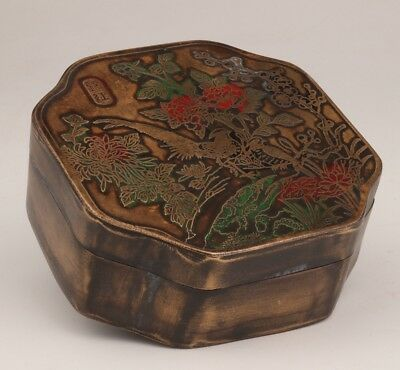 Antique Valuable Copper Seal Box Seal Painting Bird Flower Old