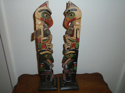 Pair Circa 1940's Old Carved Wood Native American Thunderbird Totem Pole Poles H