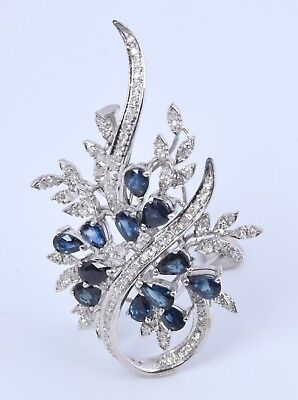 Vintage Solid 14K White Gold Diamond & Sapphire Brooch Pin Pendant