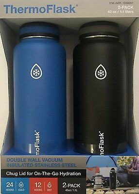 ThermoFlask 2 Pack 40 oz  Double Wall Vacuum Insulated Stainless Steel