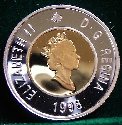 1998 Canadian  $2 Proof Sterling Silver Toonie with 24 kt. Gold Plate inlay