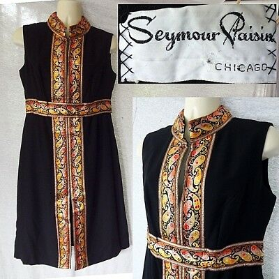 60s Vintage SEYMOUR PAISIN DRESS Chicago Black w/ Gold Stitching Front Slit Sz M