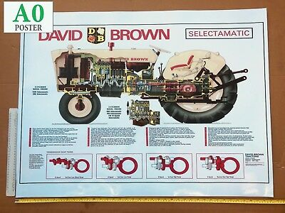 David Brown Tractor Poster '770 780 880 990 1200 Selectamatic Cut Through'