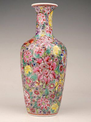 Valuable Chinese Porcelain Vases Decorate Old Collection Hand-Painted Flower