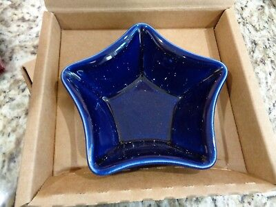 Longaberger  Proudly American Little Star Blue Pottery Dish