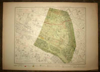 Plan antique card geographic of the 3 and 4th, Fourth District III de Paris