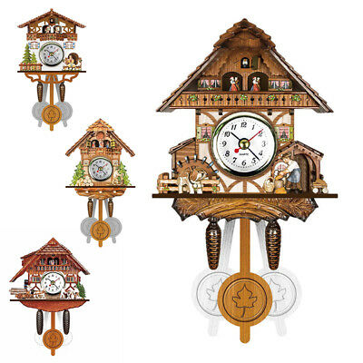 Antique Wall Clock Time Bell Wooden Bird Swing Alarm Watch Decor Forest style