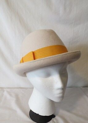 81df4596726 Vintage Cream Bollman Americana wool felt hat with wide yellow band 6 3 4  size