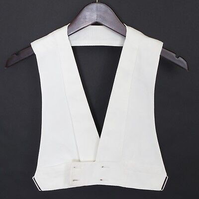 1920's VTG boy's double-breasted cotton pique open back formal waistcoat ~32-34