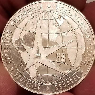 Vintage 1958 BRUSSELS BELGIUM WORLDS FAIR EXPO. PURE SILVER PROOF Token Medal