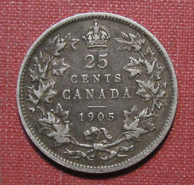 1905 Canada 25 Cent Piece - Very Nice Condition And Toning!