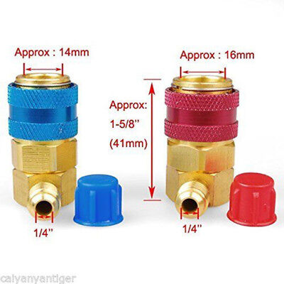 R134A Quick Connector Adapter Coupler Auto A/C Manifold Gauge Low/High 2 Colors