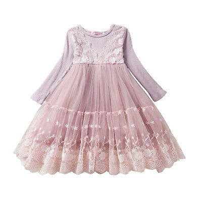 5ac225689e1 Flower Girl Dress Lace Princess Birthday Holiday Party Everyday size 3 4 5  6 7 8