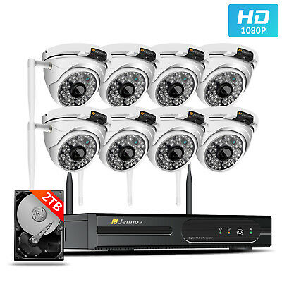 Outdoor Wireless security Camera System 8CH HD1080P NVR Kit Waterproof CCTV Set