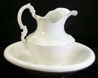 Antique Taylor Smith Taylor White With Gold Trim Pitcher And Bowl
