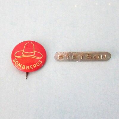 STETSON Hat Metal Bar Pin Tag & Sombreros Pinback Button Vintage