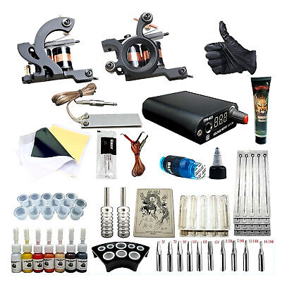 Complete Tattoo Kit Professional  2 Machine 7 Ink Tattoo Needle Foot Pedal Set