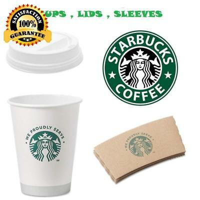 12 Ounce Pack of 50 each Disposable Hot Paper Cup With Sleeves and Lids White