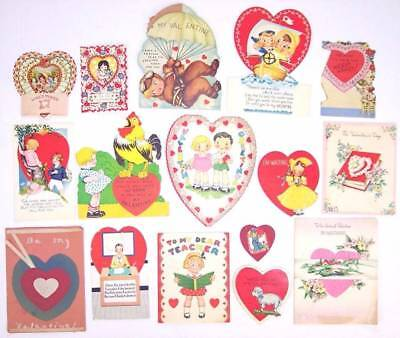 Lot of 16 Used Vintage Teacher Valentines Valentine Cards, Mid Century, 40s 50s