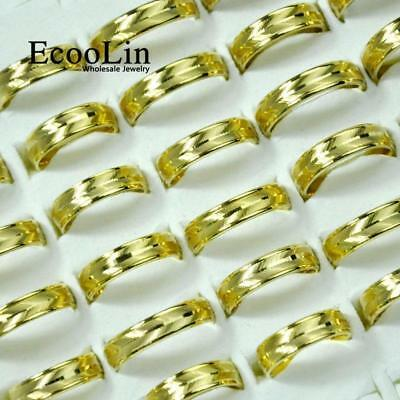 50pcs Oblique Stainless Steel gold Rings Mixed Fashion For Women Men Jewelry KPF