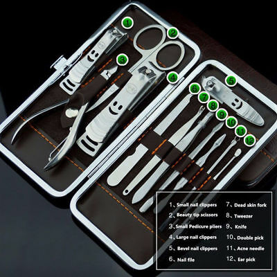 Manicure Pedicure Nail Care Set 12 Piece Cutter Cuticle Clippers Kit Gift Cases