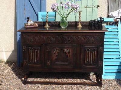 Antique Solid Oak Sideboard Cabinet Jacobean Gothic Revival Country Rustic Chic