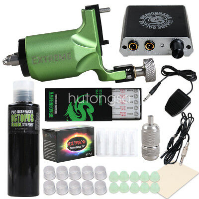 Complete Tattoo Kit Extreme Rotary Machine Power Supply OCTOPUS Ink Needle H