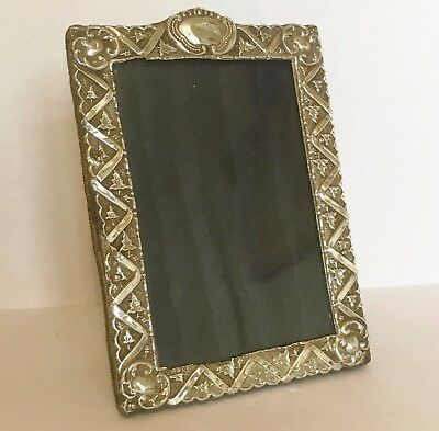 Antique Victorian - 925 Solid Silver Photo Frame - Ivy Leaf Embossed Decoration