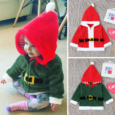 Infant Baby Boys Girls Christmas XMAS Fleece Hooded Tops Coat Pullover Outfit US