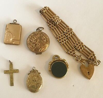 Antique Victorian Joblot Jewellery - Gold Agate Fob - Locket Bracelet Pendant