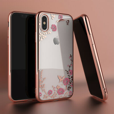 For iPhone XS Max XR XS Luxury Hybrid Crystal Bling TPU Clear Case Cover