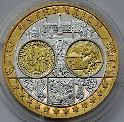 AUSTRIA United Europe coin, introduction of Euro currency 1999, Silver Gold COA