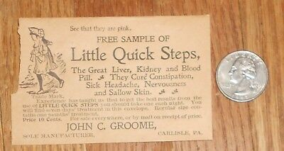 c1895 Antique Advertising Envelope Little Quick Steps Blood Pill Quack Medicine