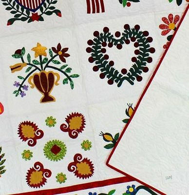 Incredible Hand Applique Baltimore Album Sampler QUILT w/ small feather quilting