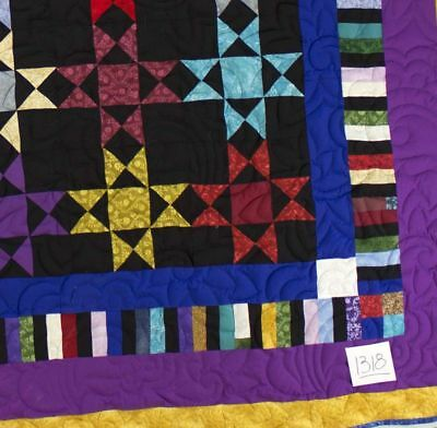 Amish Scrap style Ohio Star FINISHED QUILT - Small Feather Quilting motifs
