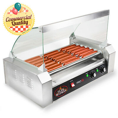 OPEN BOX - Commercial Electric 18 Hot Dog Roller Grill Cooker Machine w Cover