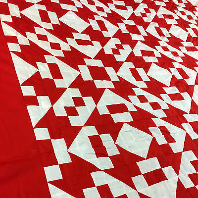 Unusual Red & White Hour Glass, Chain variation- Graphic QUILT TOP