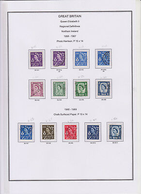GB Used Stamp Collection Definitive Northern Ireland 11 pages CV £340 inc NI44ea