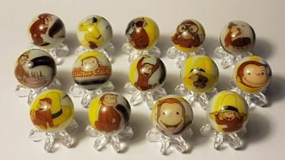 Curious George lot collection 5/8 size glass marbles + stands