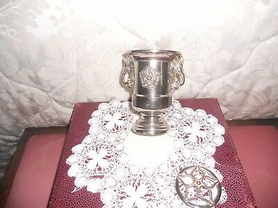 Vintage silver plated POSY ROSY flowers VASE 2 handles marked GRENADER ENGLAND